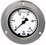 Glycerine pressure gauge, front ring, G 1/4, 0 - 2.5 bar, 63 - Glycerine-filled pressure gauges with hot-pressed brass housing