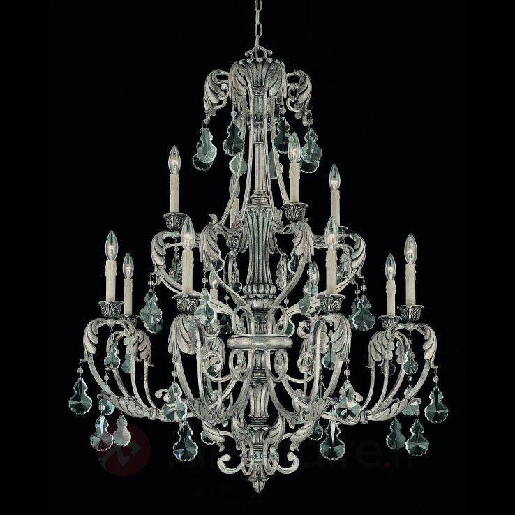 Lustre FLORITA argenté à 12 lampes - Lustres classiques,antiques