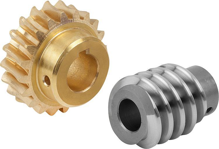 Worm gears, right-hand centre distance 25 mm - Worm screws and worm wheels