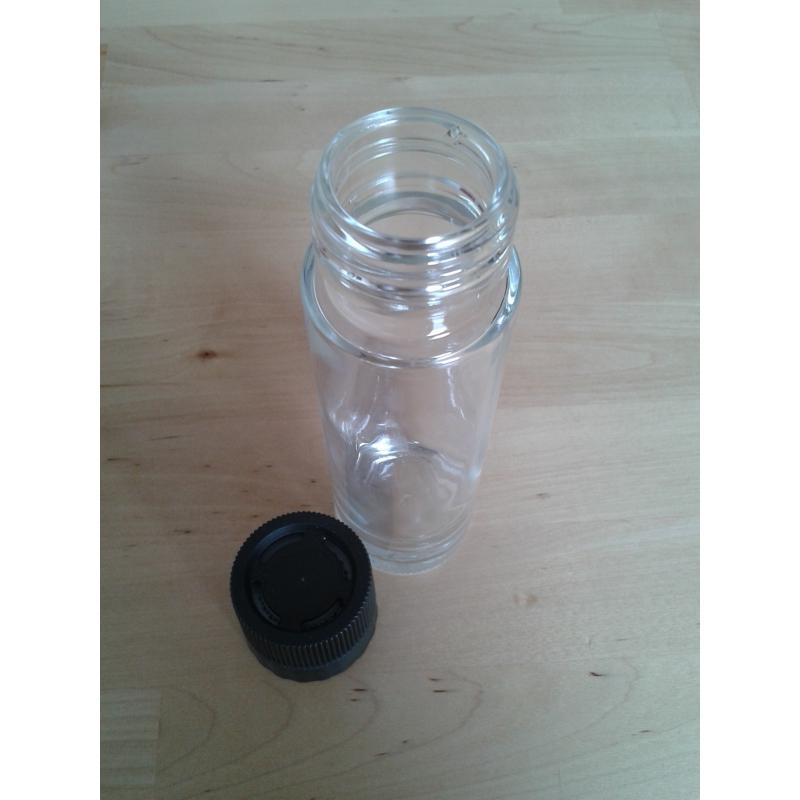 40 bocaux TONDO 100 ml avec moulin à épices en PVC noir inclus - BOCAUX CYLINDRIQUES