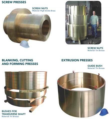 Components for industrial presses - centrifugal castings in copper alloys for screw presses, extrusion presses...