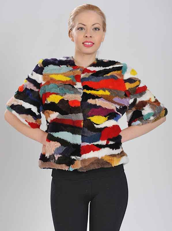 Jacket of Rabbit Multicolour Shear -