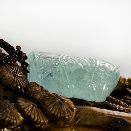 Natural aquamarine piezas talladas de bambú -