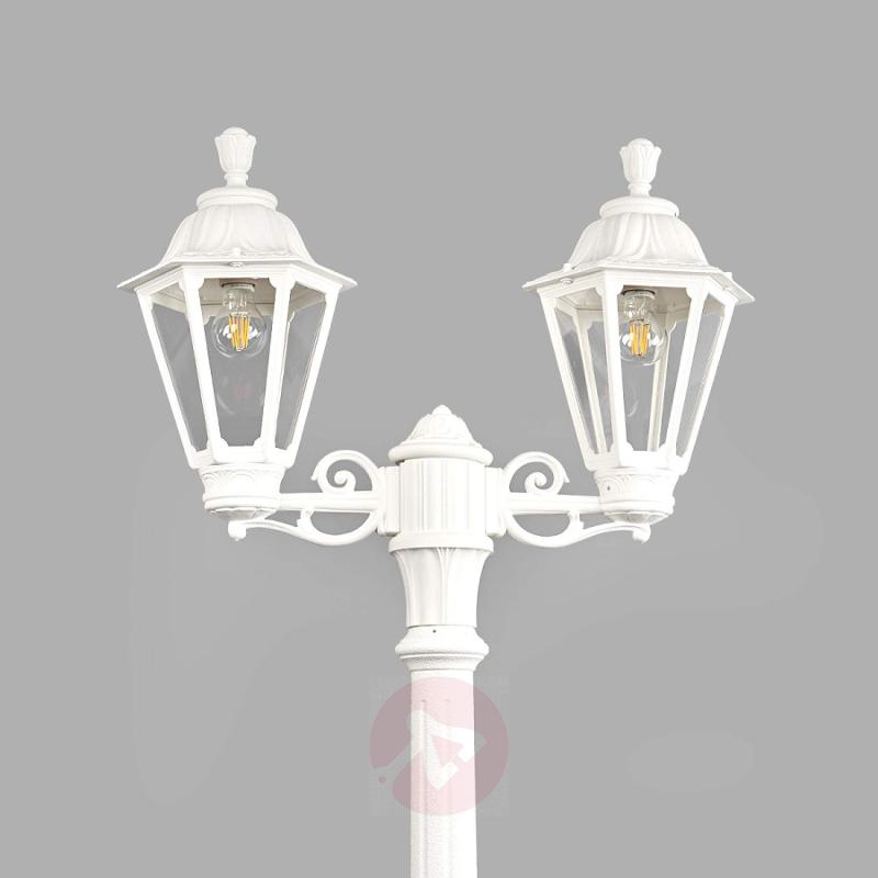 LED post light Artu Rut 2-bulb E27 white - outdoor-led-lights