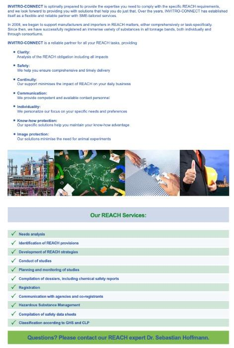 Complete REACH Service - Laboratory- and Regulatory Services - Services for the implementation of EU directive REACH