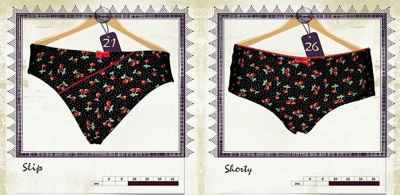 Slip et Shorty imprimés Cerise - Lingerie pour Jeunes Femmes