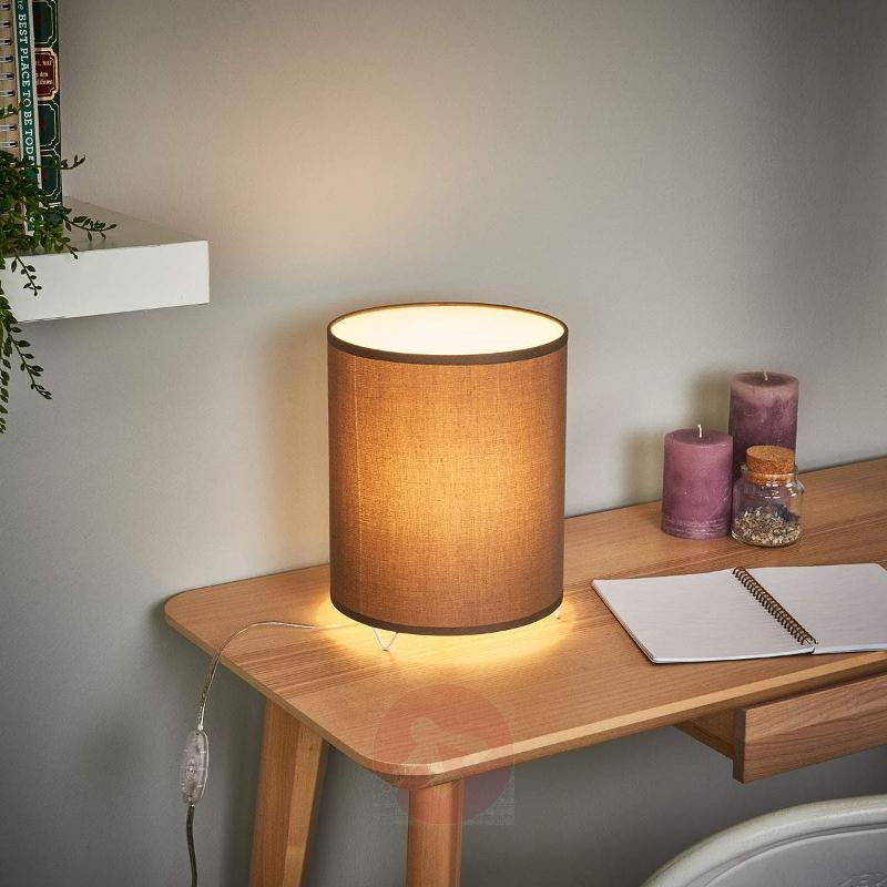 Cylindrical grey fabric table lamp Leander - Bedside Lamps