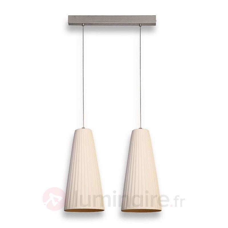 Suspension à 2 lampes Konte avec abat-jour plissé - Cuisine et salle à manger