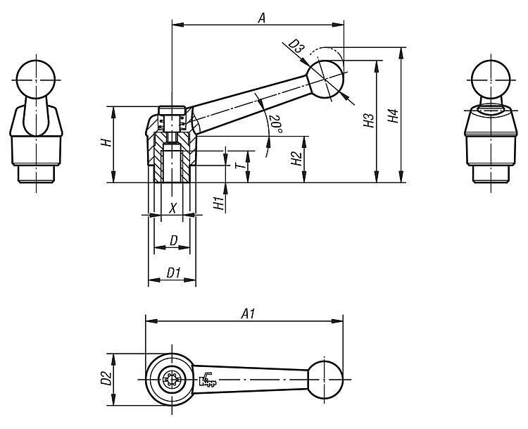 Manette indexable avec insert taraudé en Inox - Leviers de blocage, manettes indexables