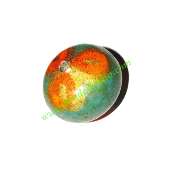 Wooden Painted Beads, Fancy Design Hand-painted beads, size  - Wooden Painted Beads, Fancy Design Hand-painted beads, size 16x22mm, weight appr