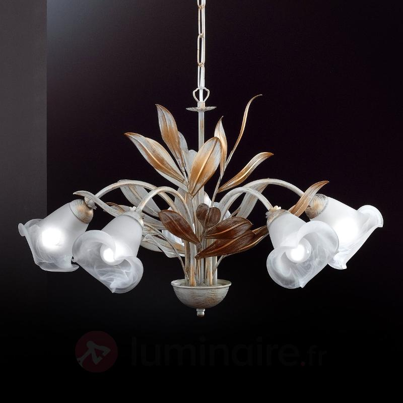 Beau lustre Valenzia 5 branches, blanc antique - Suspensions style florentin