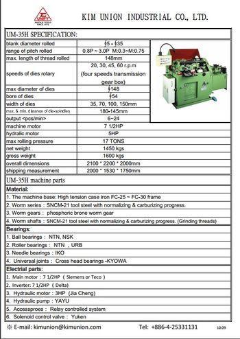 Serration gear rolling machine - UM-35H thread rolling machine is a special designed for serration type working p