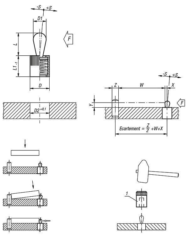 Poussoir latéral à ressort - Poussoirs latéraux à ressort