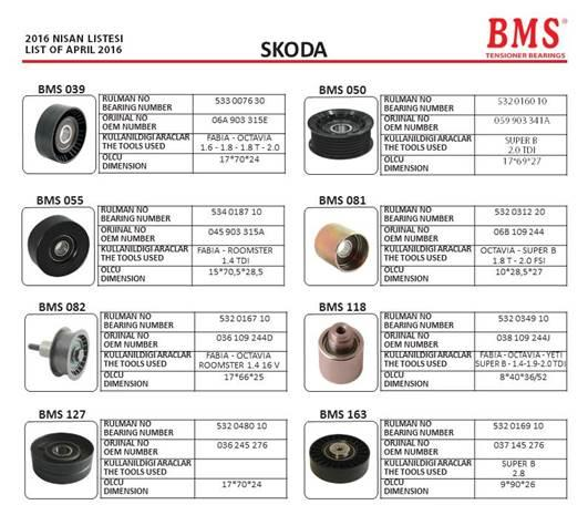BMS - SKODA Tensioner Bearings
