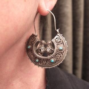 Boucles d'oreilles - Argent, turquoises, Ouzbékistan