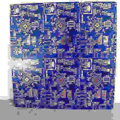 placa de circuito azul petróleo