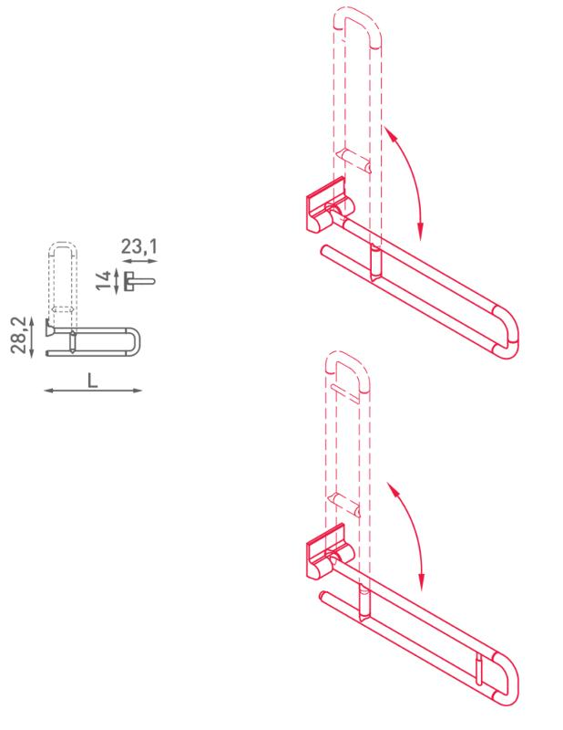 Maniglione di sostegno ribaltabile - N32.110-115