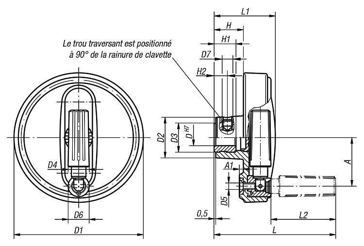 Volant avec poignée cylindrique escamotable - Volants, manivelles et poignées