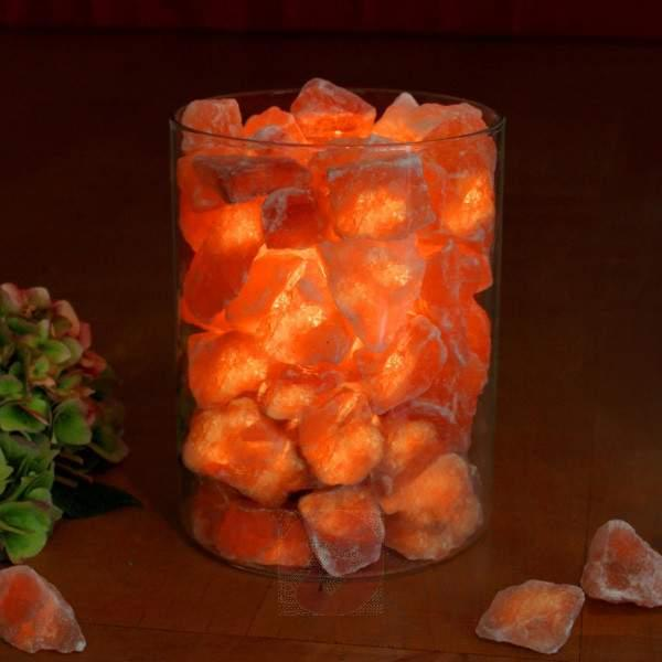 Salt crystal fire in glass - null