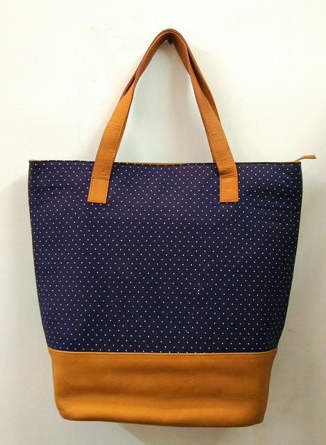 Leather Women Tote bag in tan colour - Tan colour Leather with cotton Covered bags for women