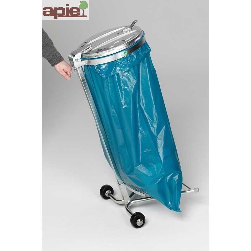 Support sac poubelle sur pieds avec 2 roulettes - Référence : 1041