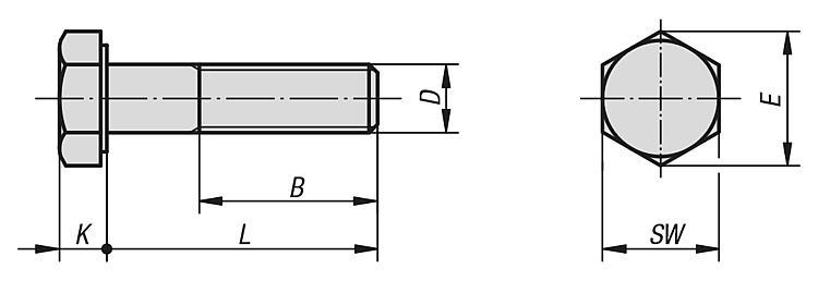 Vis H DIN 931 / DIN EN ISO 4014 / DIN EN 24014 - Éléments de liaison