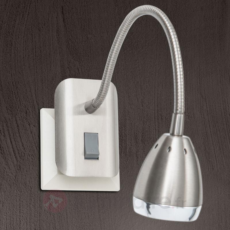 Lampe LED sur prise Manvel à interrupteur, nickel - Lampes sur prise et veilleuses