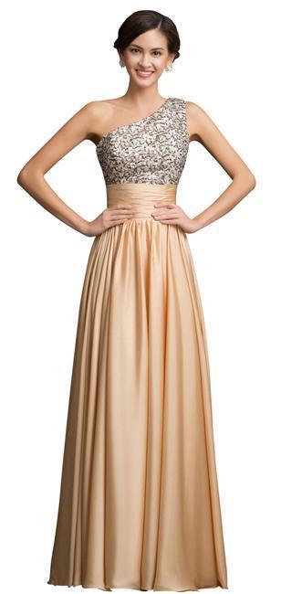 robe de soirée - Robe de soirée asymétrique brodée de sequins