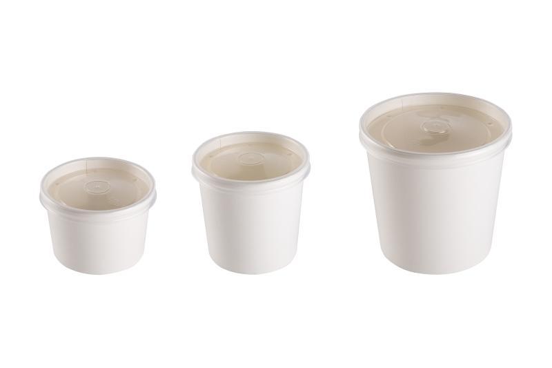 Soup container with transparent lid - Kraft soup container with transparent lid
