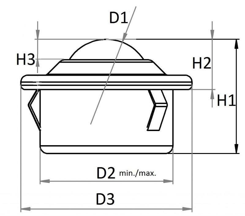 Ball caster sheet steel casing, collar and built-in-clip -