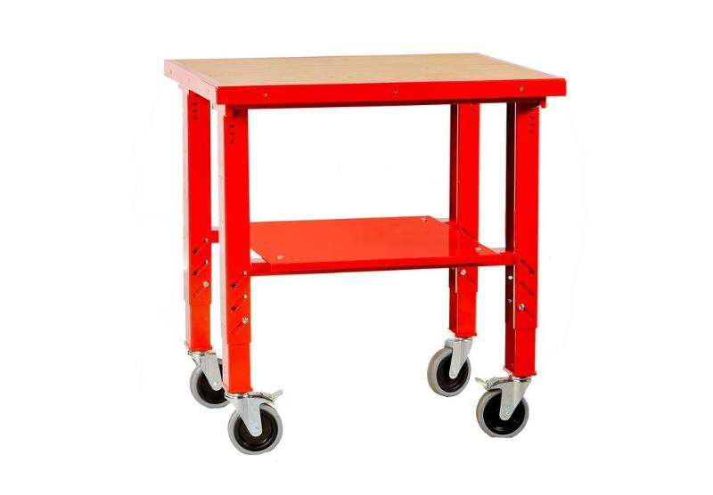 Metal warehouse trolley on four wheels, with adjustable legs - null
