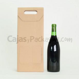 Caja de cartón Marrón para 2 botellas de vino 75cl.