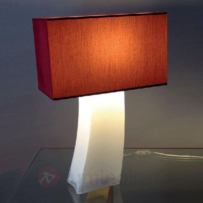 Lampe à poser rouge MELANIE pied opale - Lampes à poser en tissu