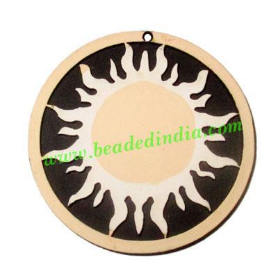 Handmade wooden sun pendants, size : 44x3mm - Handmade wooden sun pendants, size : 44x3mm