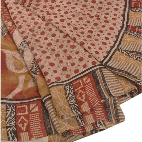 Printed 100% Pure Georgette Silk Saree - Sanskriti Vintage Indian Printed 100% Pure Georgette Silk Saree Cream
