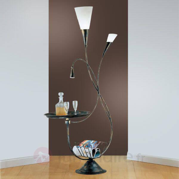 Lampadaire élégant MARRON avec table d'appoint - Lampadaires design