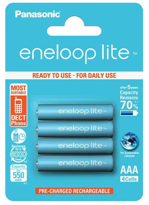 Batterie ministilo ricaricabili Eneloop Lite 4pz - BK-4LCCE/4BE | Blister da 4 pile AAA Panasonic