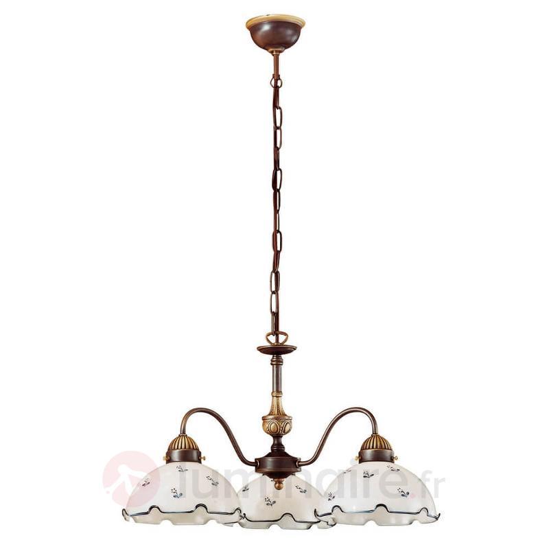 Attrayant lustre Nonna blanc-bleuté - Suspensions rustiques