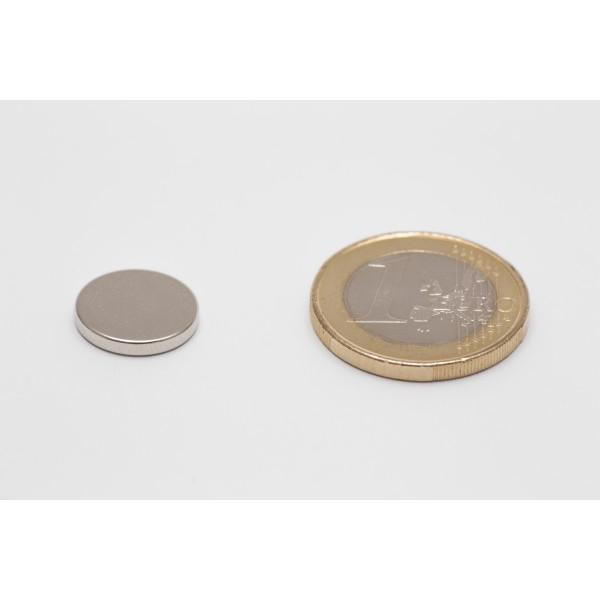 Neodymium disc magnet 13x2mm, N45, Ni-Cu-Ni, Nickel coated - Disc
