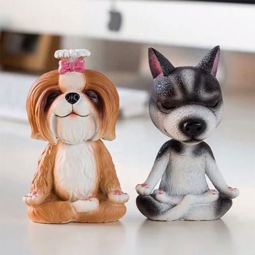 Customized resin small yoga meditation dog figurine - Figures