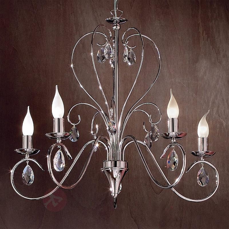 Lustre gracieux FIORETTO 5 ampoules, chromé - Lustres en cristal