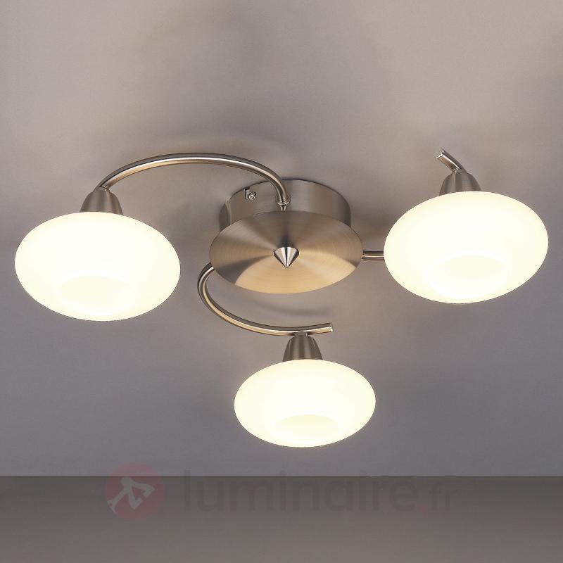 Plafonnier LED Espen à trois lampes, nickel mat - Plafonniers LED