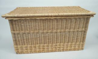Coffre rectangulaire couvercle plat osier blanc  - L.80cm