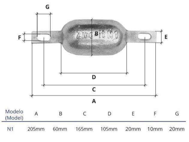 Ânodo de zinco para protecção catódica - Ânodos de casco N1