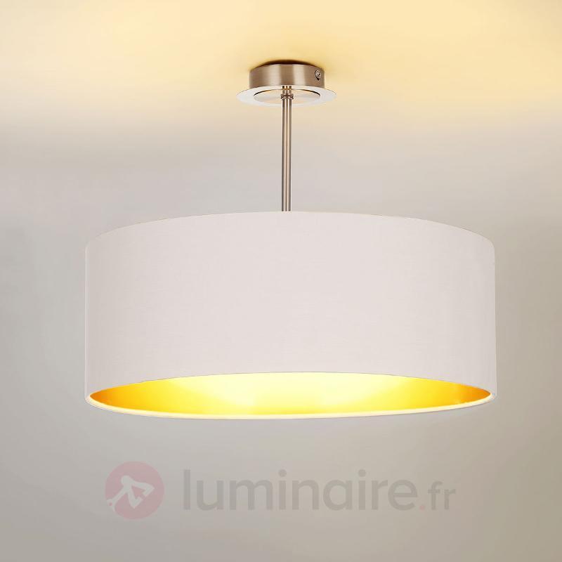 Plafonnier LED Franka en tissu de couleur blanche - Plafonniers en tissu