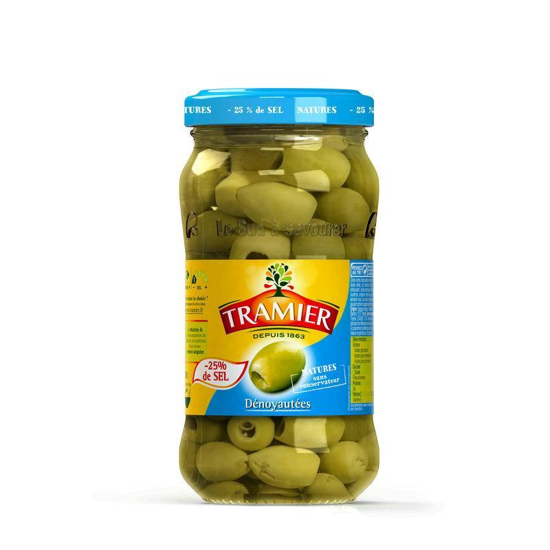 Olives vertes dénoyautées sel réduit 160g - TRAMIER - Olives vertes dénoyautées sel réduit 160g - TRAMIER