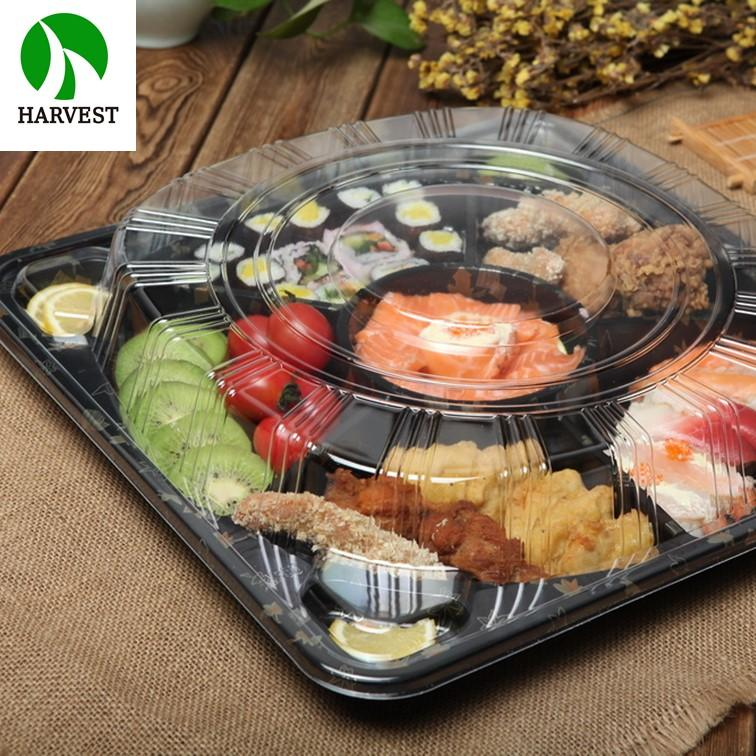 Black Square Custom Disposable 6 Compartments Plastic Tray Plate - Party Trays