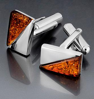 Sterling silver cufflinks with Baltic amber -