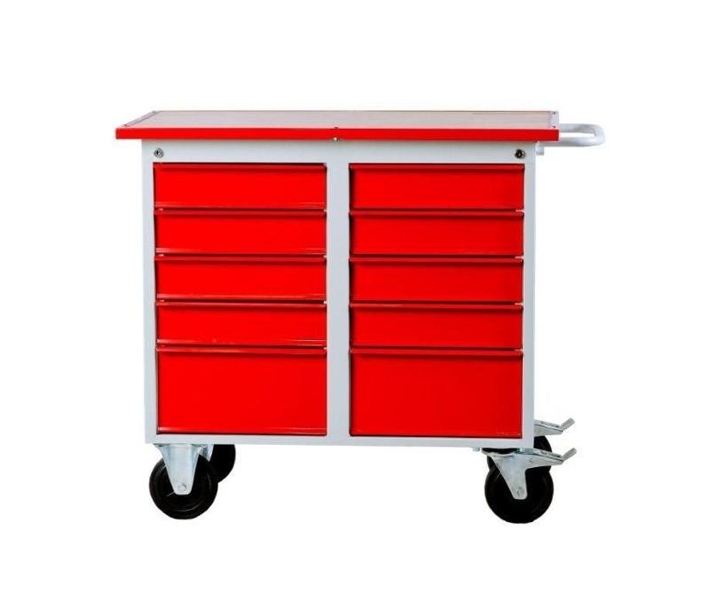 Metal warehouse trolley with ten drawers on wheels - null