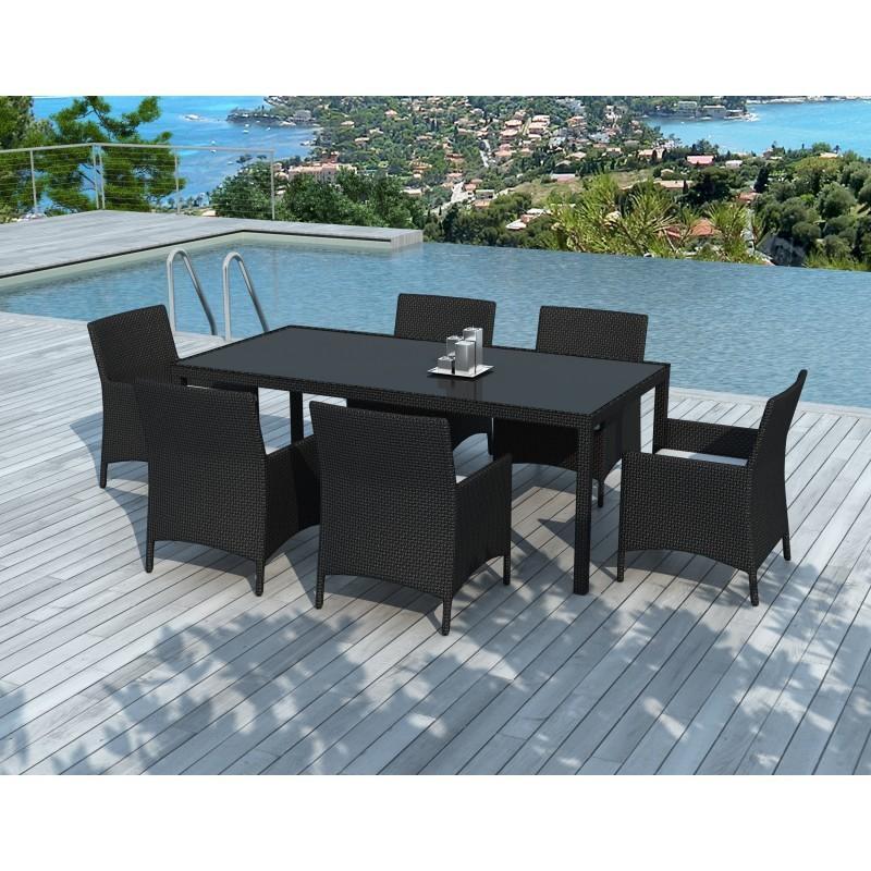 Table à manger, 6 fauteuils de jardin PALMAS résine tressée - La table et les 6 fauteuils s'accommoderont à votre espace de détente.